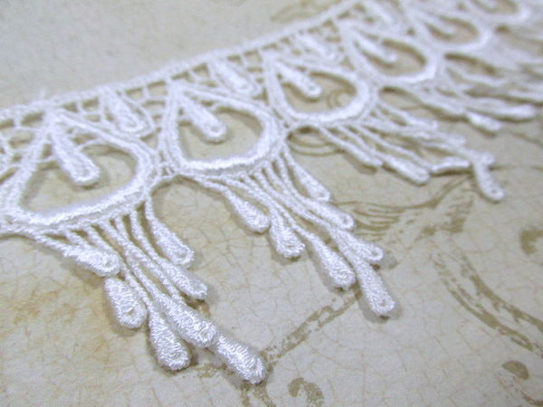 White Peacock 3 Inch Fringed Venice Lace Trim - Odyssey Cache