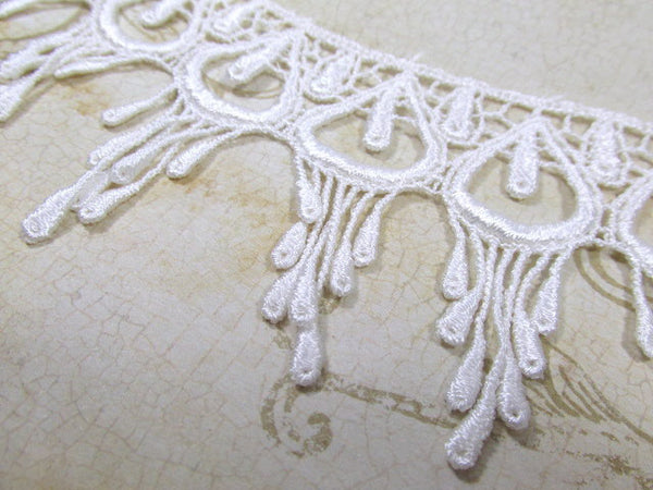 White Peacock 3 Inch Fringed Venice Lace Trim-Trims-Default Title-Odyssey Cache