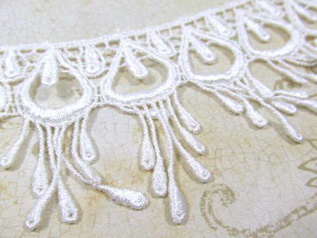 Ivory Peacock 3 Inch Fringed Venice Lace Trim - Odyssey Cache