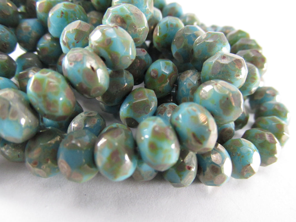Aqua Turquoise Bronze Picasso Czech 8mm x 6mm Rondelles (10)-Jewelry Beads-Odyssey Cache