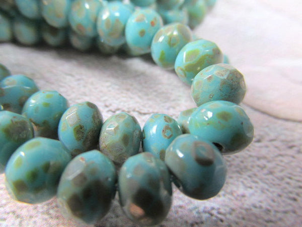 Aqua Turquoise Bronze Picasso Czech Glass 7mm x 5mm Rondelles-Jewelry Beads-10 Beads-Odyssey Cache