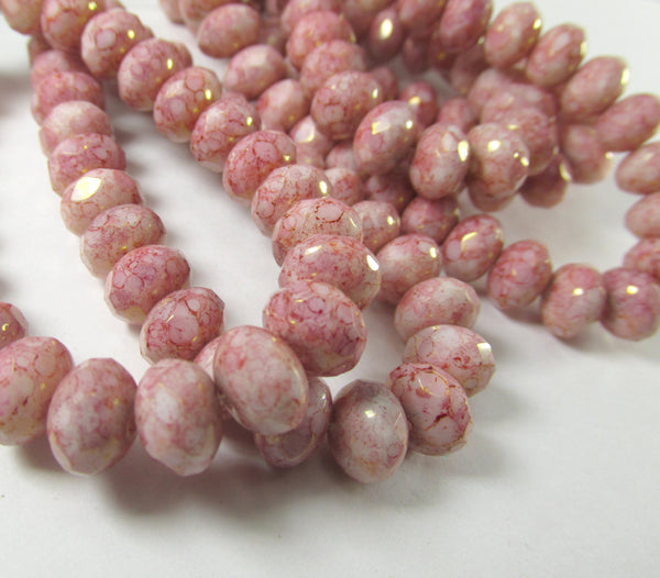 Pink and White Rose Alabaster Czech 8mm x 6mm Rondelles-Czech Glass-25 beads-Odyssey Cache