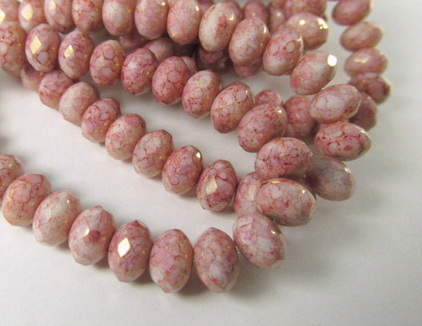 Pink and White Rose Alabaster Czech 8mm x 6mm Rondelles - Odyssey Cache