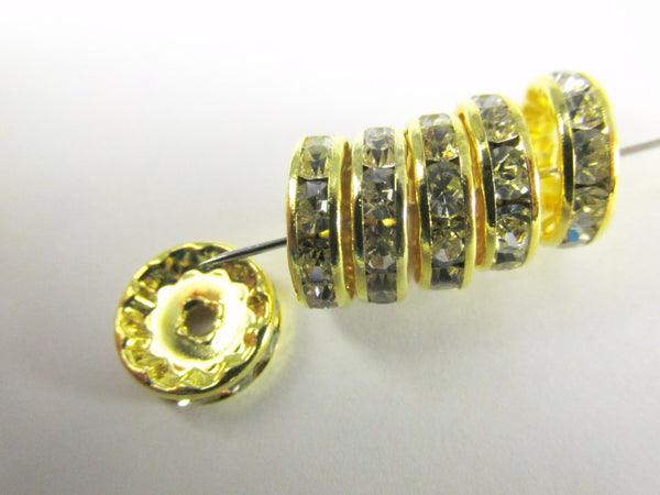 Gold and Clear Crystal 12mm Round Metal Spacer Beads (8)-Jewelry Beads-Odyssey Cache