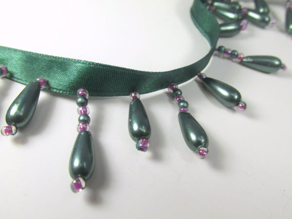 Peacock Green Teal Pearl and Purple Short Beaded Fringe-Beaded Fringe-1/2 Yard-Odyssey Cache