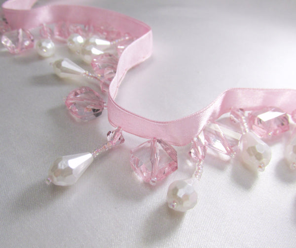White Pearl and Pale Pink Stair Step Square Short Beaded Fringe - Odyssey Cache