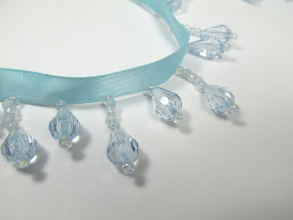 Light Baby Blue on Blue Aqua Ribbon Short Beaded Fringe Trim-Beaded Fringe-Odyssey Cache
