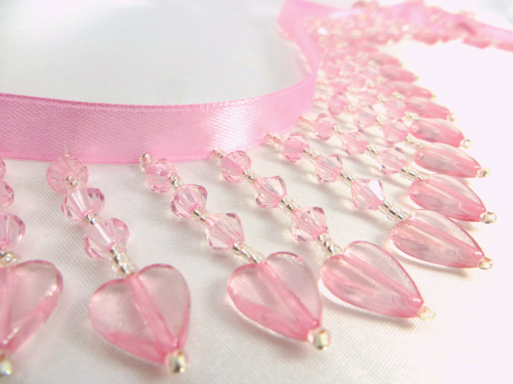 Pale Pink and Silver Heart Straight Medium Beaded Fringe - Odyssey Cache