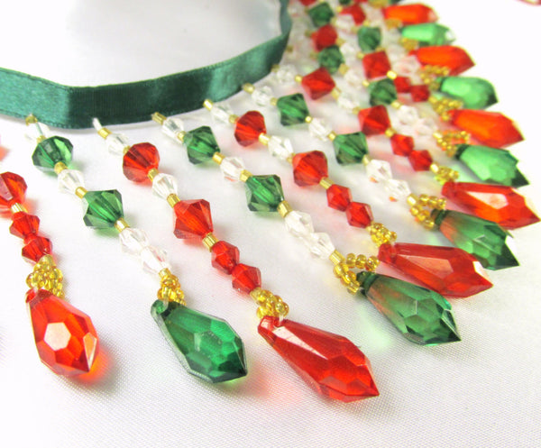 Christmas Red, Green and Clear Medium Beaded Fringe - Odyssey Cache