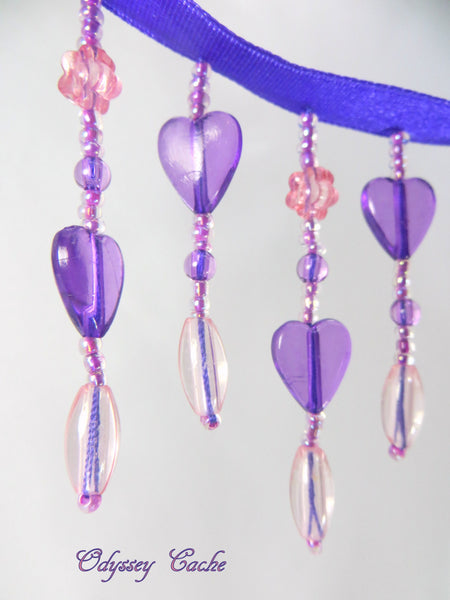 Purple and Pink Heart Medium Beaded Fringe Trim - Odyssey Cache