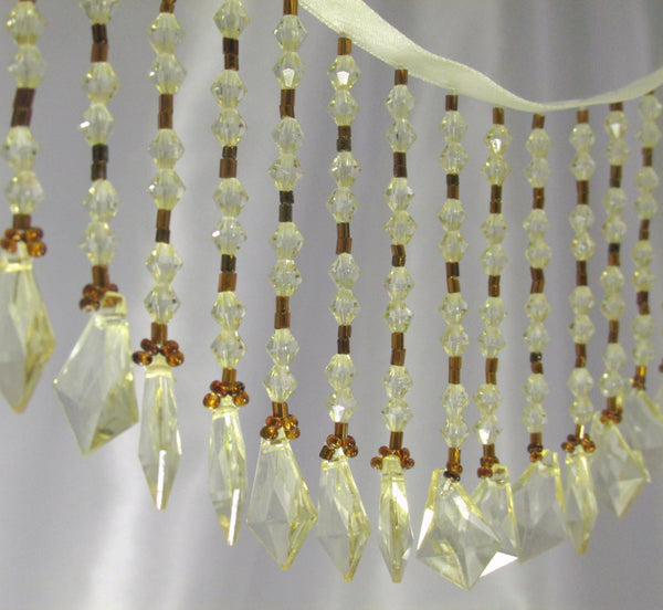 Honey Gold Diamond Drop Long Beaded Fringe Trim-Beaded Fringe-Yard-Odyssey Cache