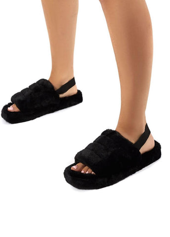 30% OFF SIZE 3 ONLY Black fluffy slippers Strap - Size 3 4 5 6 7 and 8