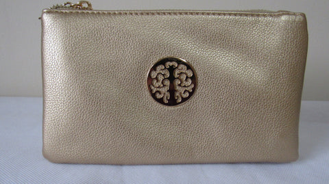 SALE SALE SALE NEW Ladies GOLD Faux Leather Zip Around Purse Clutch Bag with Wrist Strap and Shoulder strap