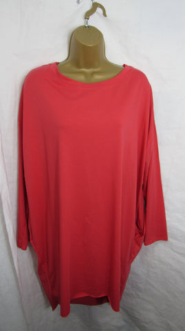 Ladies Italian Coral PinkPocket Tunic Top Long Sleeved ONE SIZE FITS 14 16 18 20