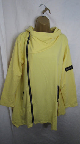 NEW Ladies Italian Yellow Hooded Cardigan zip Jacket One Size Fits 16 18 20 22