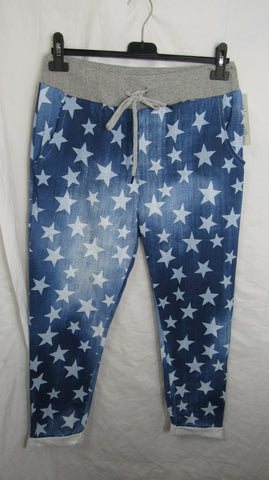 NEW Ladies Blue Small Blue Star Joggers Leggings One Size Fits sizes 10 12 14 16