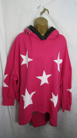NEW Ladies Hot Pink Star Hooded Tunic Top One Size Fits 16 18 20 22