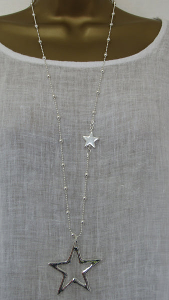 NEW Lagenlook Silver Coloured Star Pendant Nickle Free Long Necklace