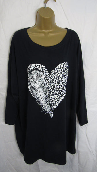 NEW Ladies Italian Navy Blue White Heart Feather Tunic Top One Size Fits 18 20 22 24