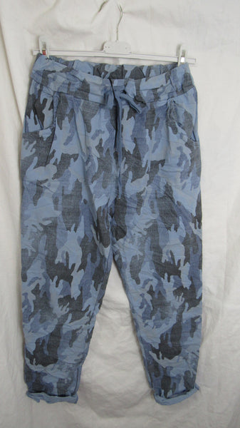 NEW Ladies Blue Camo Stretchy Magic Trousers One Size Fits 10 12 14 16 SMALLER SIZE