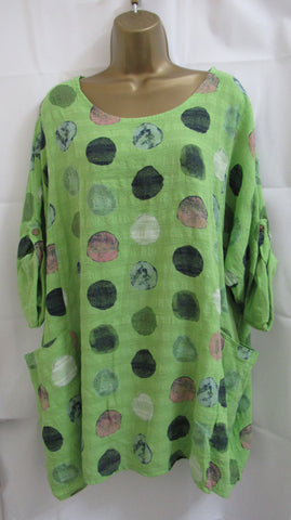 NEW Ladies Lagenlook GREEN SPOT POCKET Tunic Top ONE SIZE FITS 14 16 18 20 22