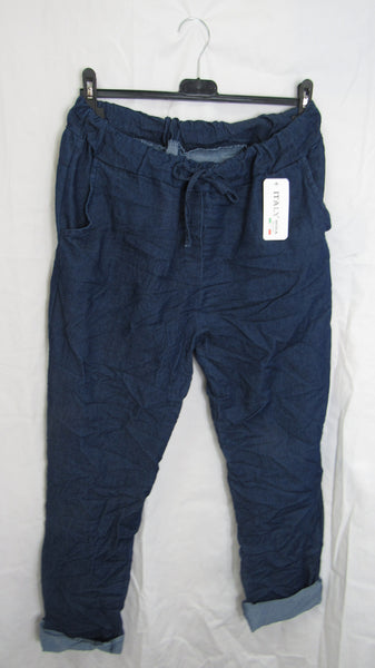 NEW Ladies Dark Denim Blue Stretchy Magic Trousers One Size Fits 18 20 22 PLUS SIZE