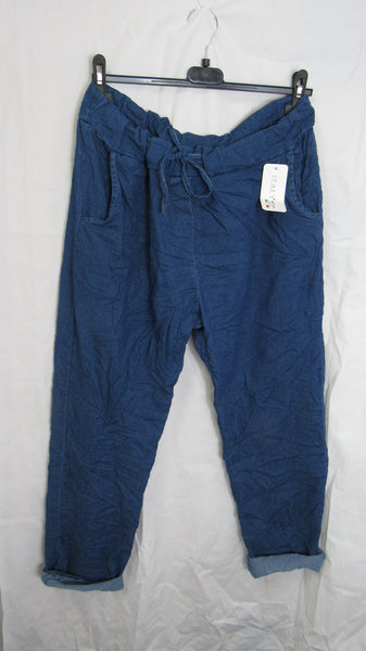NEW Ladies Lighter Denim Blue Stretchy Magic Trousers One Size Fits 18 20 22 PLUS SIZE