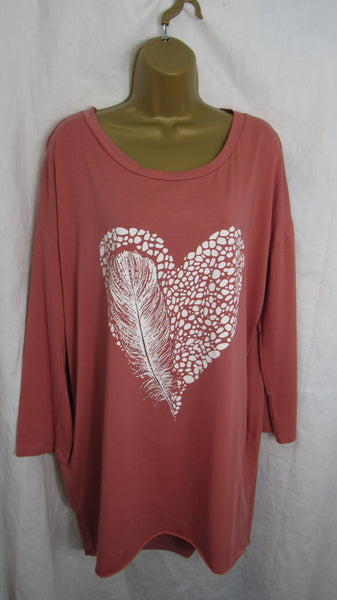 Sale Sale Sale Ladies Italian Terracotta Feather Heart Pocket Tunic Top Long Sleeved One Size Fits 12 14 16 18 20 Non Returnable