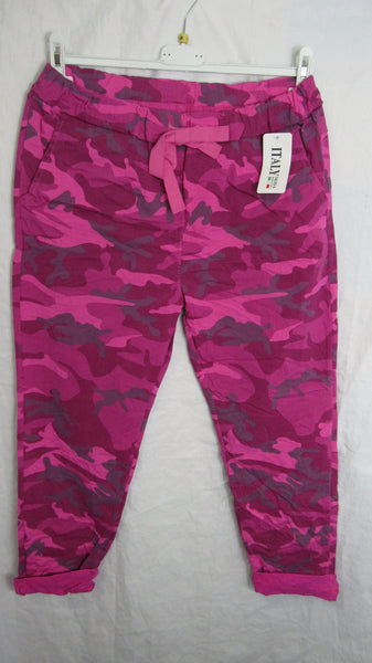 NEW Ladies Hot Pink Camo Stretchy Magic Trousers One Size Fits 10 12 14 16 SMALLER SIZE
