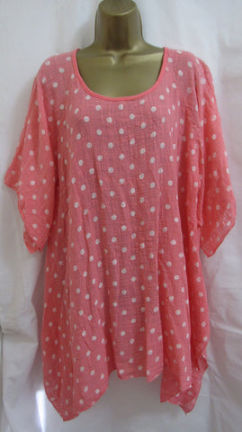 NEW Ladies Lagenlook CORAL Spot Tunic Hankerchief Hem Top ONE SIZE FITS 16 18 20 22