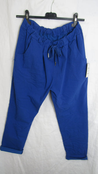 NEW Ladies Royal Blue Stretchy Magic Trousers One Size Fits 10 12 14 16