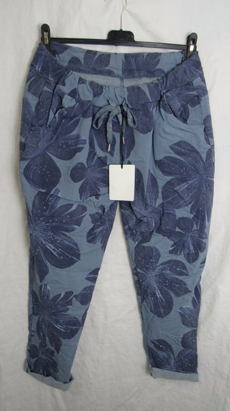 NEW Ladies Blue Floral Stretchy Magic Trousers One Size Fits 16 18 20