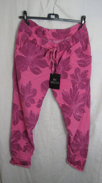 NEW Ladies Pink Floral Stretchy Magic Trousers One Size Fits 16 18 20