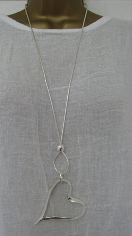 NEW Lagenlook Silver Coloured Nickle Free Heart Pendant Long Necklace