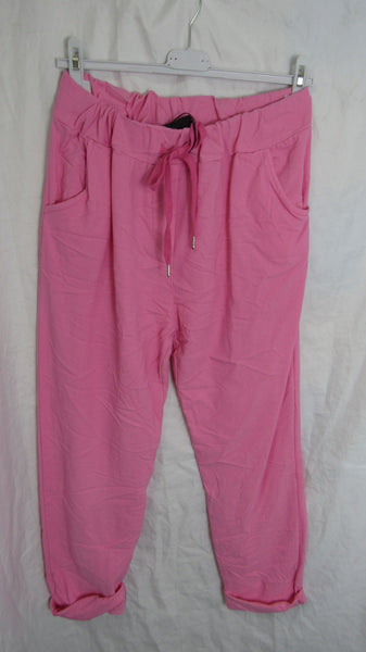 NEW Ladies Candy Pink Stretchy Magic Trousers One Size Fits 18 20 22