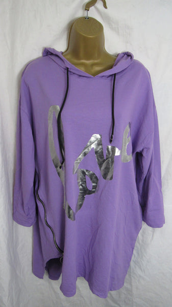 Sale Sale Sale NEW Ladies Purple Lilac Love Hooded Sweatshirt Tunic One Size Fits 10 12 14 16 Non Returnable