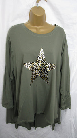 NEW Ladies Long Sleeve Pocket Khaki Green Animal Print Star High Low Swing Tunic Top One Size Fits 12 14 16 18 20 22