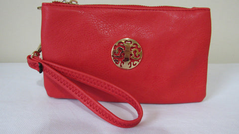 SALE SALE SALE NEW Ladies RED Faux Leather Zip Around Purse Clutch Bag with Wrist Strap and Shoulder strap