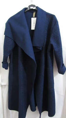 NEW Ladies Lagenlook Blue Waterfall Pocket Coat Wool Blend One Size Fits 12 14 16 18 20