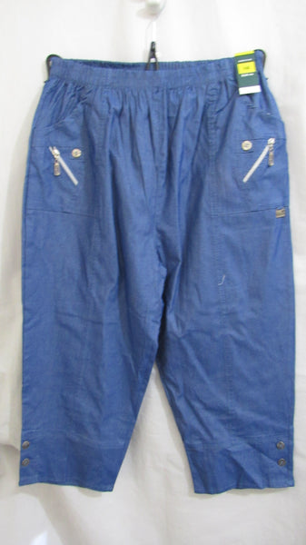 NEW Ladies Blue Stretch 3/4 length capri trousers pants SIZED ITEM 10 12 14 16 18 20 22 24