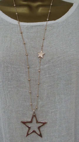 NEW Lagenlook ROSE GOLD Coloured STAR Pendant Nickle Free Long Necklace