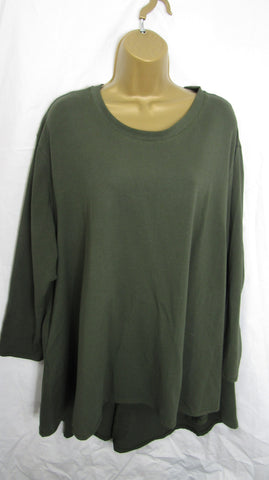 NEW Ladies Long Sleeve Pocket Khaki Green High Low Swing Tunic Top One Size Fits 12 14 16 18 20 22