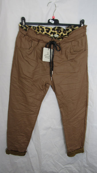 NEW Ladies Camel Leather Look Magic Trousers One Size Fits 10 12 14 SMALLER SIZE
