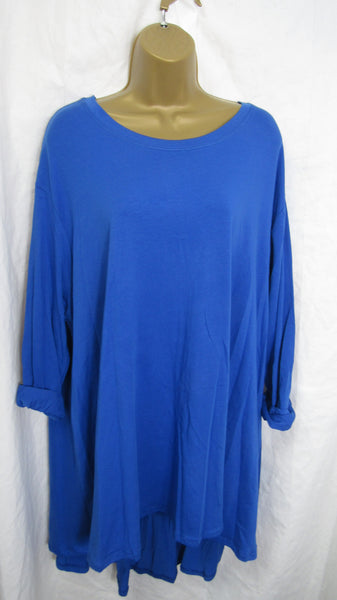 NEW Ladies Long Sleeve Royal Blue High Low Swing Tunic Top One Size Fits 20 22 24 26 Plus Size