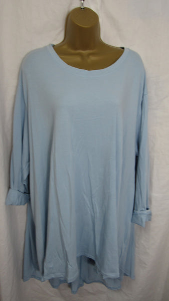 NEW Ladies Long Sleeve Baby Blue High Low Swing Tunic Top One Size Fits 20 22 24 26 Plus Size