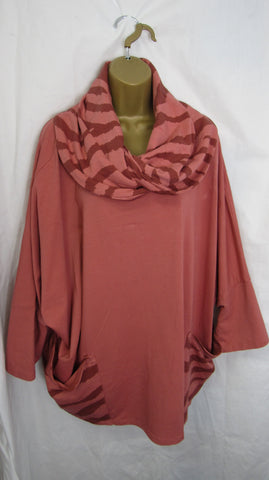 NEW Ladies Pink Animal Print Cowl Neck Pocket Jacket Long Sleeved One Size Fits 18 20 22