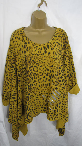 SALE SALE SALE NEW Ladies Mustard Leopard Print Sequin Pocket Handkerchief Hem Tunic Top One Size Fits 14 16 18 20 22 NON RETURNABLE