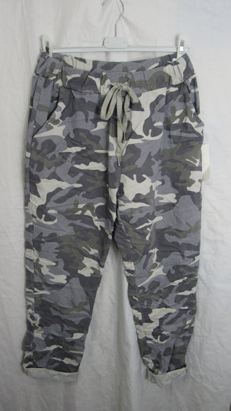 NEW Ladies Light Grey Camo Stretchy Magic Trousers One Size Fits 18 20 22 PLUS SIZE