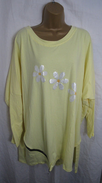 Ladies Italian Lemon Yellow Daisy Print Zip side Tunic Top Long Sleeved One Size Fits 16 18 20 22