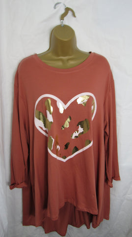 NEW Ladies Long Sleeve Pocket Terracotta Heart Speckled High Low Swing Tunic Top One Size Fits 12 14 16 18 20 22